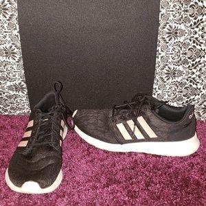 Adidas cloudfoam tennis shoe w7.5 black & pink